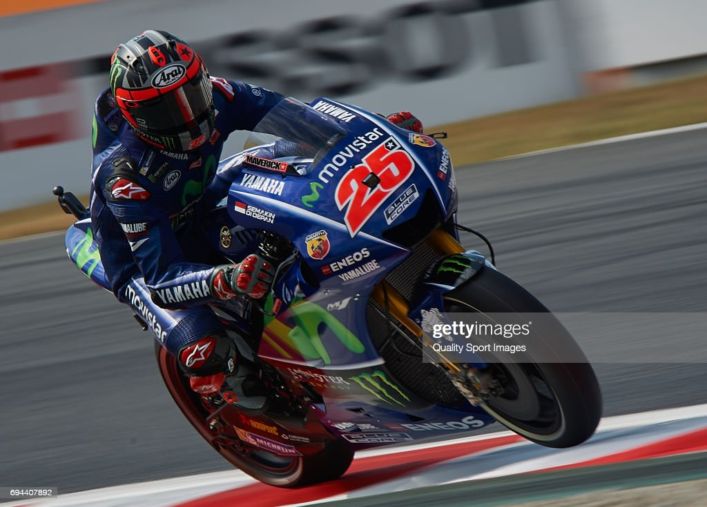 Maverick Vinales of Spain and Movistar Yamaha MotoGP rides during free practice for the MotoGP of Catalunya at Circuit de Catalunya on June 9, 2017 in Montmelo, Spain.