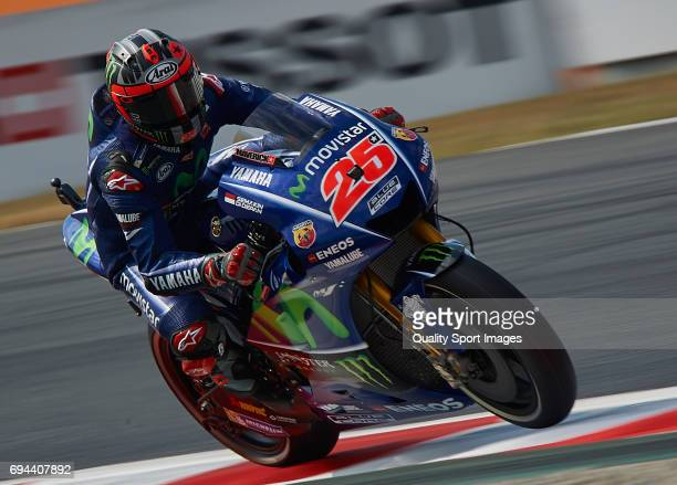 Maverick Vinales of Spain and Movistar Yamaha MotoGP rides during free practice for the MotoGP of Catalunya at Circuit de Catalunya on June 9 2017 in...