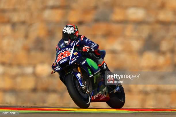 Maverick Vinales of Spain and Movistar Yamaha MotoGP rides during practice for the MotoGP of Aragon at Motorland Aragon Circuit on September 23 2017...