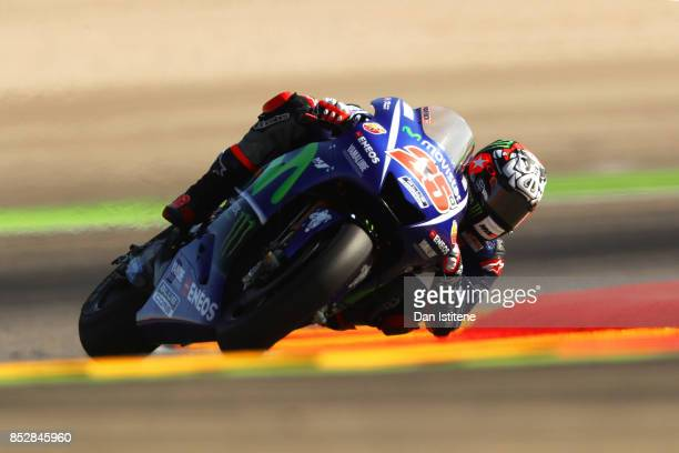 Maverick Vinales of Spain and Movistar Yamaha MotoGP rides during warmup before the MotoGP of Aragon at Motorland Aragon Circuit on September 24 2017...
