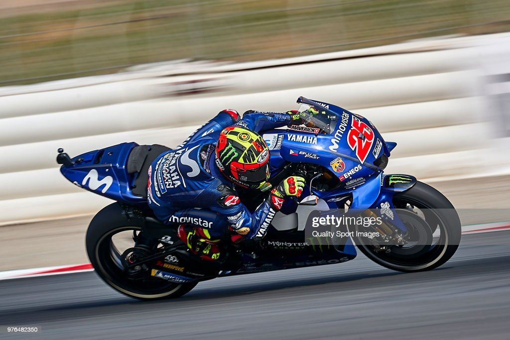 Maverick Vinales of Spain and Movistar Yamaha MotoGP rides during free practice for the MotoGP of Catalunya at Circuit de Catalunya on at Circuit de Catalunya on June 16, 2018 in Montmelo, Spain.