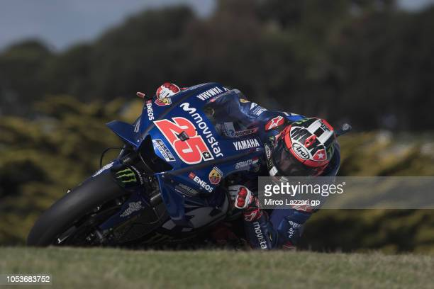 Maverick Vinales of Spain and Movistar Yamaha MotoGP rounds the bend during free practice for the 2018 MotoGP of Australia at Phillip Island Grand...