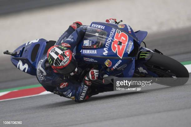 Maverick Vinales of Spain and Movistar Yamaha MotoGP rounds the bend during the qualifying practice during the MotoGP Of Malaysia Qualifying at...