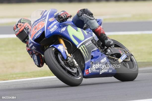 Maverick Vinales of Spain and Movistar Yamaha MotoGP rounds the bend during 2017 MotoGP preseason testing at Phillip Island Grand Prix Circuit on...