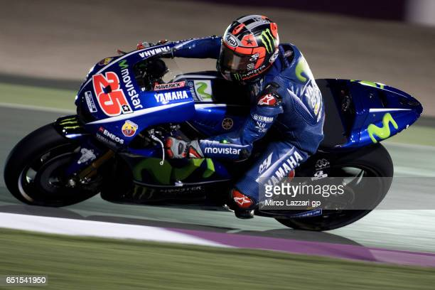 Maverick Vinales of Spain and Movistar Yamaha MotoGP rounds the bend during the MotoGP Tests In Losail at Losail Circuit on March 10 2017 in Doha...