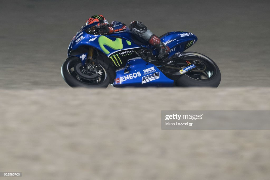 Maverick Vinales of Spain and Movistar Yamaha MotoGP rounds the bend during the MotoGP Tests In Losail at Losail Circuit on March 12, 2017 in Doha, Qatar.