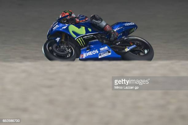 Maverick Vinales of Spain and Movistar Yamaha MotoGP rounds the bend during the MotoGP Tests In Losail at Losail Circuit on March 12 2017 in Doha...