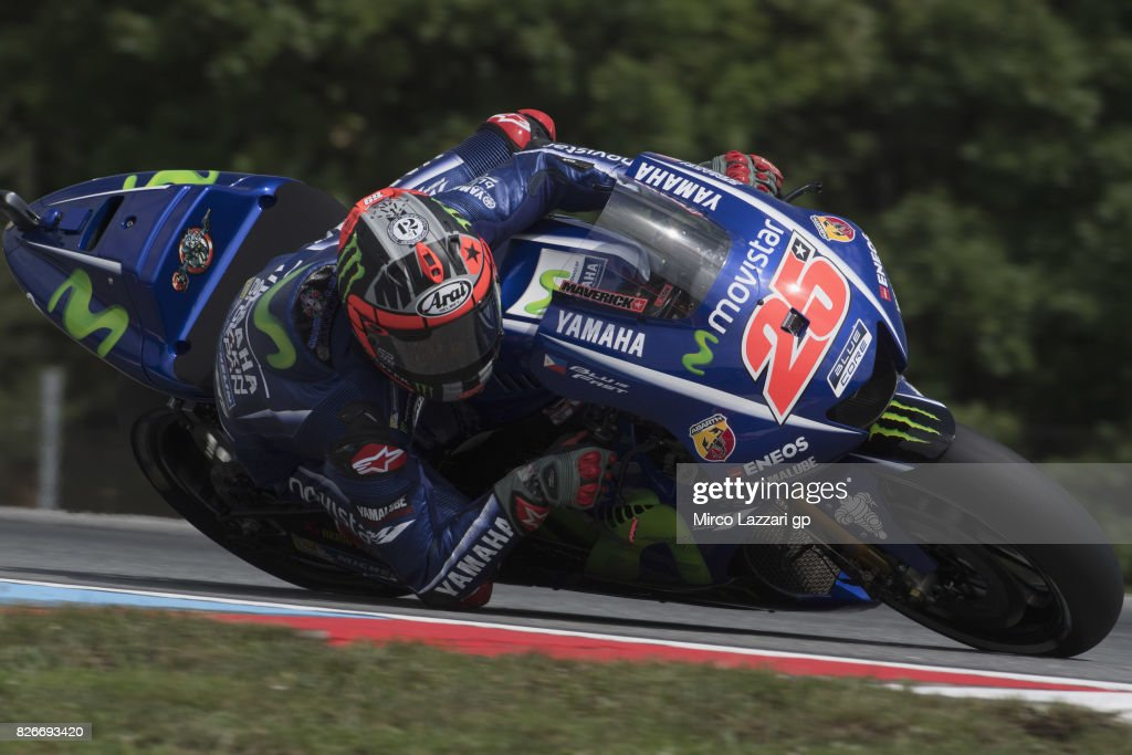 Maverick Vinales of Spain and Movistar Yamaha MotoGP rounds the bend during the MotoGp of Czech Republic - Qualifying at Brno Circuit on August 5, 2017 in Brno, Czech Republic.