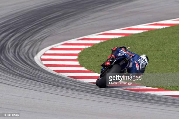 Maverick Vinales of Spain and Movistar Yamaha MotoGP rounds the bend during the MotoGP Tests In Sepang at Sepang Circuit on January 28 2018 in Kuala...