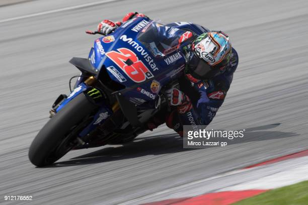 Maverick Vinales of Spain and Movistar Yamaha MotoGP rounds the bend during the MotoGP test in Sepang at Sepang Circuit on January 30 2018 in Kuala...
