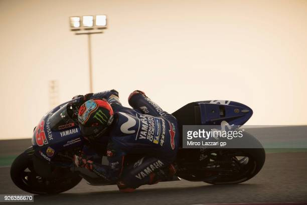 Maverick Vinales of Spain and Movistar Yamaha MotoGP rounds the bend during the Moto GP Testing Qatar at Losail Circuit on March 2 2018 in Doha Qatar