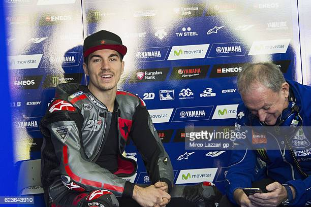 Maverick Vinales of Spain and Movistar Yamaha MotoGP smiles in box during the MotoGp Tests In Valencia at Ricardo Tormo Circuit on November 16 2016...