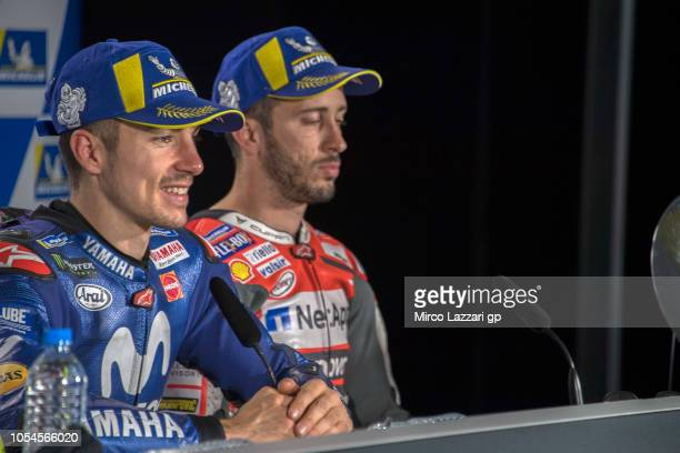 Maverick Vinales of Spain and Movistar Yamaha MotoGP speaks during the press conference at the end of the MotoGP race during the MotoGP of Australia...