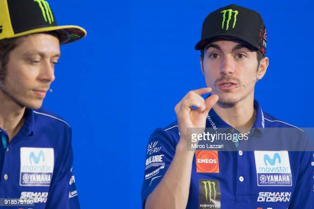Maverick Vinales of Spain and Movistar Yamaha MotoGP speaks during the 'Yamaha MotoGP Team Media Presentation for 2018 Season' at Chang International...