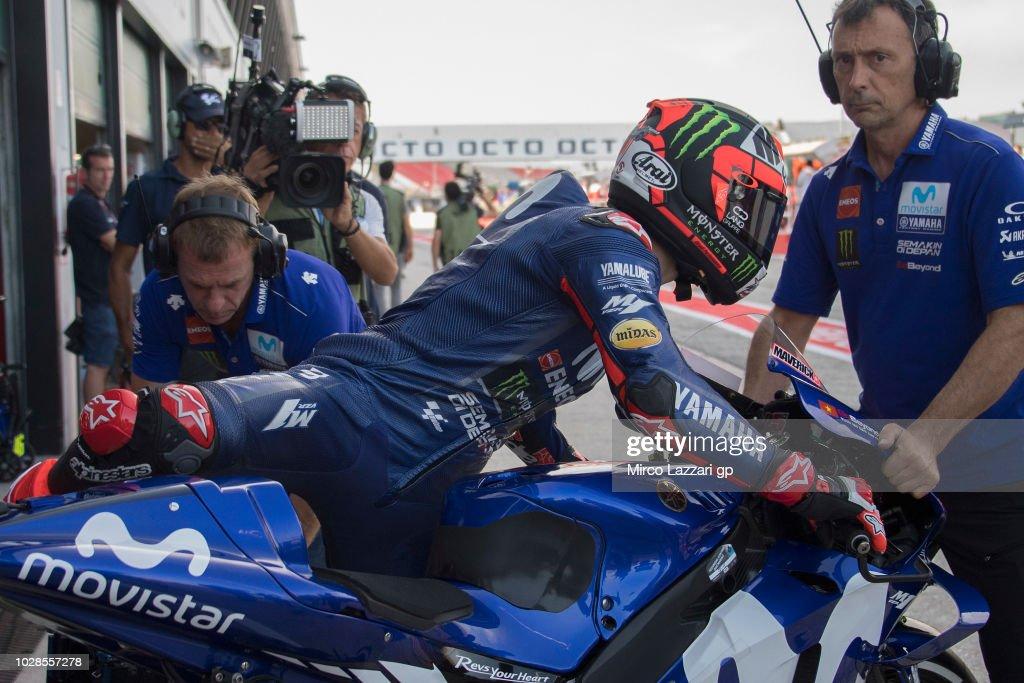 Maverick Vinales of Spain and Movistar Yamaha MotoGP starts from box during the MotoGP of San Marino - Free Practice at Misano World Circuit on September 7, 2018 in Misano Adriatico, Italy.
