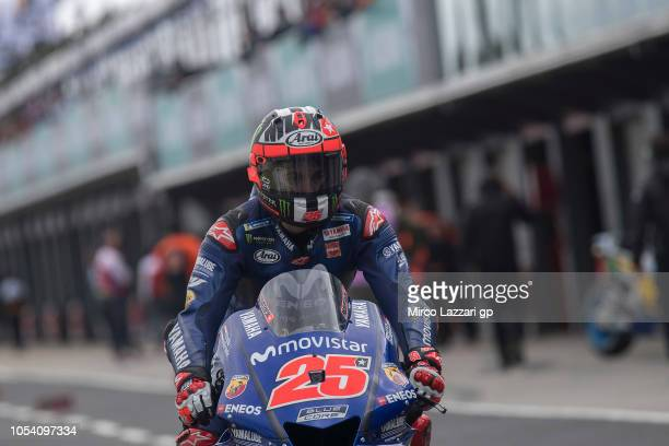 Maverick Vinales of Spain and Movistar Yamaha MotoGP starts from box during the MotoGP qualifying during qualifying for the 2018 MotoGP of Australia...