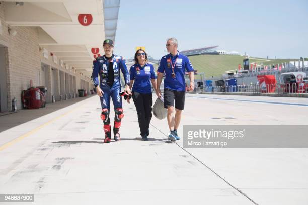 Maverick Vinales of Spain and Movistar Yamaha MotoGP walks in pit during the MotoGp Red Bull US Grand Prix of The Americas Previews at Circuit of The...