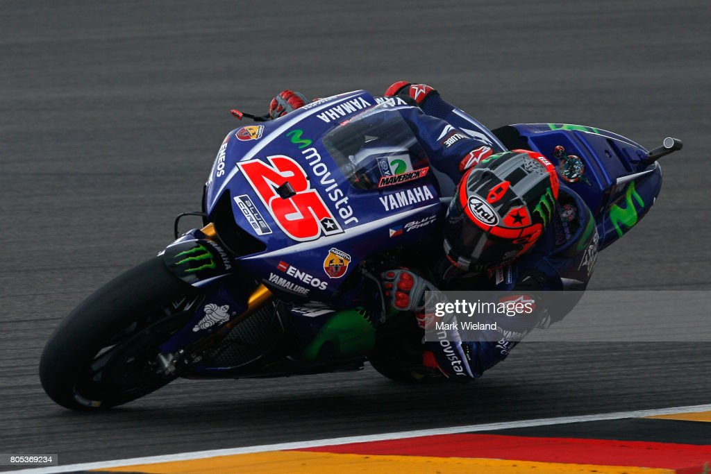 Maverick Vinales of Spain and Movistar Yamaha Team rides in qualifying during the MotoGP of Germany at Sachsenring Circuit on July 1, 2017 in Hohenstein-Ernstthal, Germany.