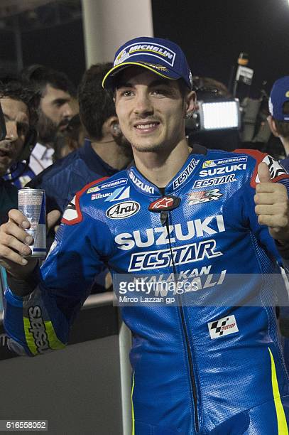 Maverick Vinales of Spain and Team Suzuki ECSTAR celebrates the third place at the end of the qualifying practice during the MotoGp of Qatar...