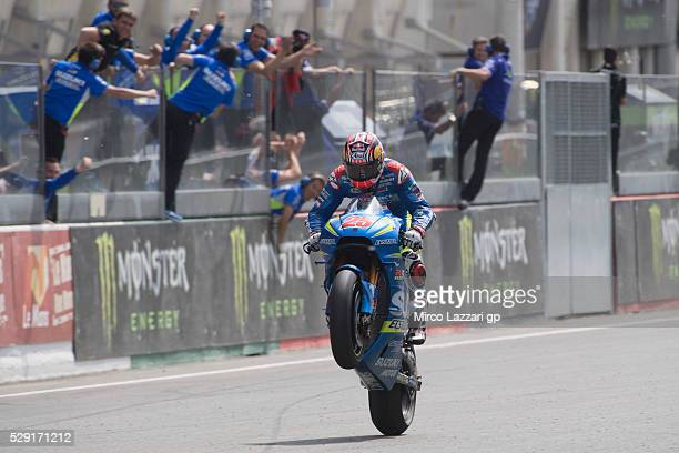 Maverick Vinales of Spain and Team Suzuki ECSTAR celebrates the third place at the end of the MotoGP race during the MotoGp of France Race at on May...