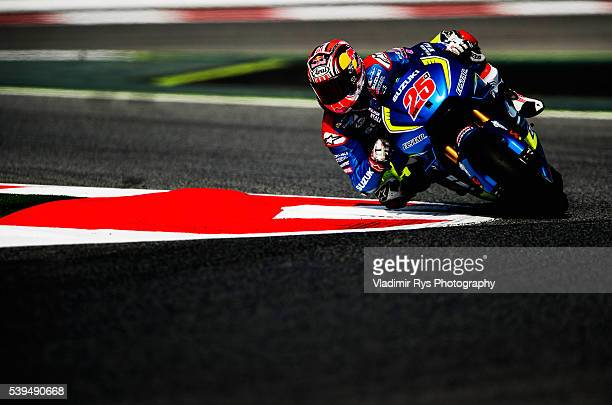Maverick Vinales of Spain and Team Suzuki Ecstar in action during qualifying for the MotoGP of Catalunya at Circuit de Barcelona on June 04 2016 in...
