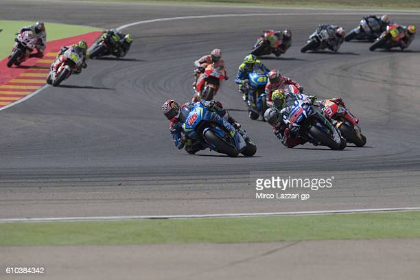 Maverick Vinales of Spain and Team Suzuki ECSTAR leads the field during the MotoGP race during the MotoGP of Spain Race at Motorland Aragon Circuit...