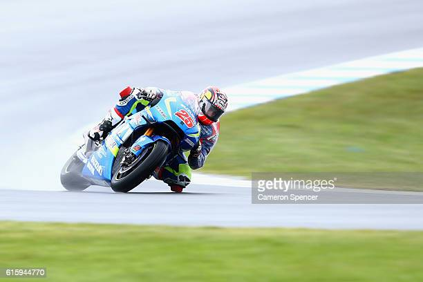 Maverick Vinales of Spain and Team Suzuki Ecstar rides during free practice for the 2016 MotoGP of Australia at Phillip Island Grand Prix Circuit on...