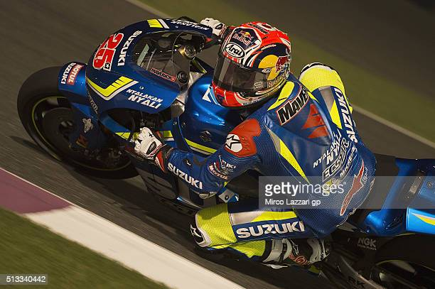 Maverick Vinales of Spain and Team Suzuki ECSTAR rounds the bend during the MotoGP Tests In Doha at Losail Circuit on March 2 2016 in Doha Qatar