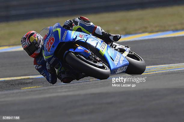 Maverick Vinales of Spain and Team Suzuki ECSTAR rounds the bend during the MotoGp of France Qualifying at on May 7 2016 in Le Mans France