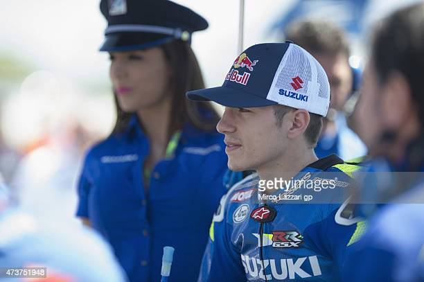 Maverick Vinales of Spain and Team Suzuki MotoGP prepares to start on the grid during the MotoGP race during the MotoGp of France Race at on May 17...