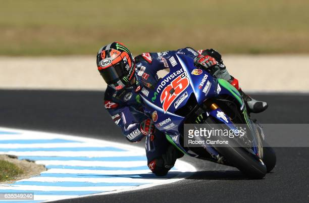 Maverick Vinales of Spain and the Movistar Yamaha MotoGP rides during 2017 MotoGP preseason testing at Phillip Island Grand Prix Circuit on February...