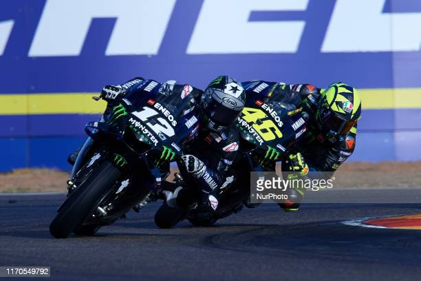 Maverick Vinales of Spain and Valentino Rossi of Italy and Monster Energy Yamaha MotoGP during of the Gran Premio Michellin de Aragon of world...