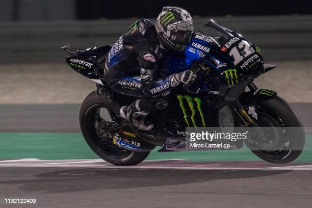 Maverick Vinales of Spain and Yamaha Factory Racing heads down a straight during the MotoGP Tests Day Three at Losail Circuit on February 25 2019 in...