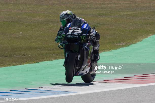 Maverick Vinales of Spain and Yamaha Factory Racing heads down a straight during the MotoGP Netherlands Qualifying on June 29 2019 in Assen...
