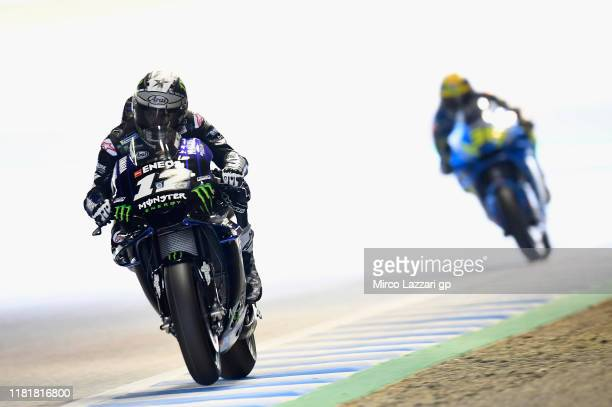 Maverick Vinales of Spain and Yamaha Factory Racing heads down a straight during the MotoGP of Japan - Free Practice at Twin Ring Motegi on October...