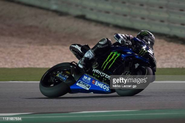Maverick Vinales of Spain and Yamaha Factory Racing rounds the bend during the MotoGP Tests Day One at Losail Circuit on February 23 2019 in Doha...