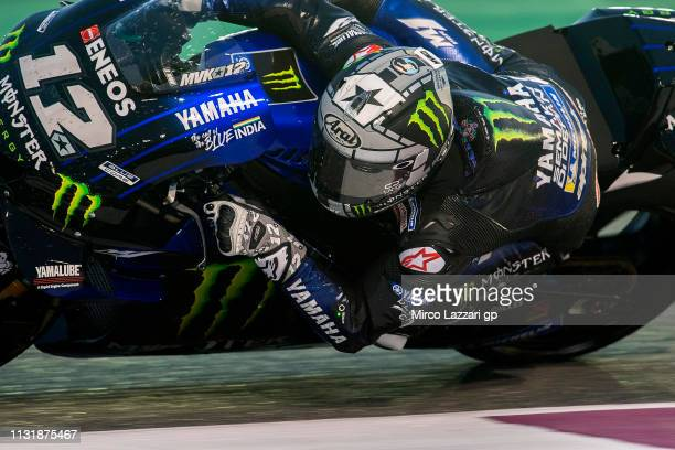 Maverick Vinales of Spain and Yamaha Factory Racing rounds the bend during the MotoGP Tests Day Two at Losail Circuit on February 24 2019 in Doha...
