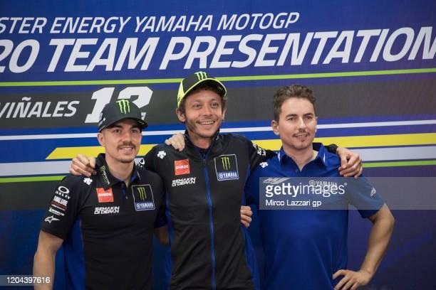 Maverick Vinales of Spain and Yamaha Factory Racing, Valentino Rossi of Italy and Yamaha Factory Racing and Jorge Lorenzo of Spain and Yamaha Factory...