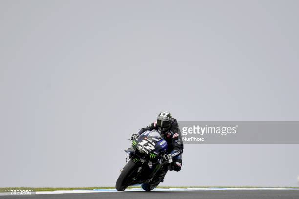 Maverick Vinales of Spain rides the Monster Energy Yamaha MotoGP bike during practice ahead of the Australian MotoGP at the Phillip Island Grand Prix...