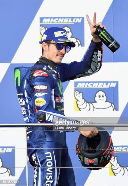 Maverick Vinales of Spain rides the MOVISTAR YAMAHA MotoGP Yamaha celebrates finishing third during the 2017 MotoGP of Australia at Phillip Island...