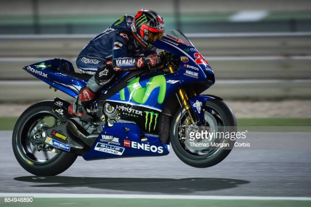 Maverick Vinales of Spain who rides Yamaha for Movistar Yamaha MotoGP during the final MotoGP winter test at Losail International Circuit on March 10...