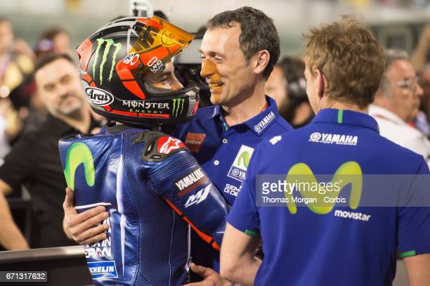 Maverick Vinales who rides Yamaha for Movistar Yamaha MotoGP in the parc ferme after winning the Grand Prix of Qatar on March 26 2017 in Losail Qatar