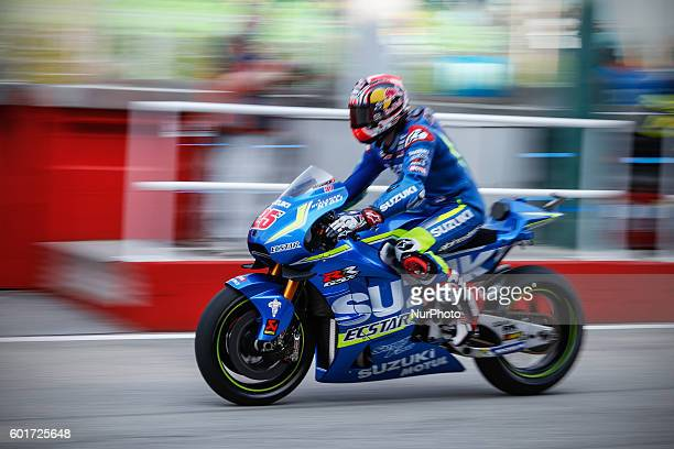Maverick Vinàles from Spain Suzuki Ecstar Team during the Day1 Free Practice at the Marco Simoncelli World Circuit for the 11th round of MotoGP World...