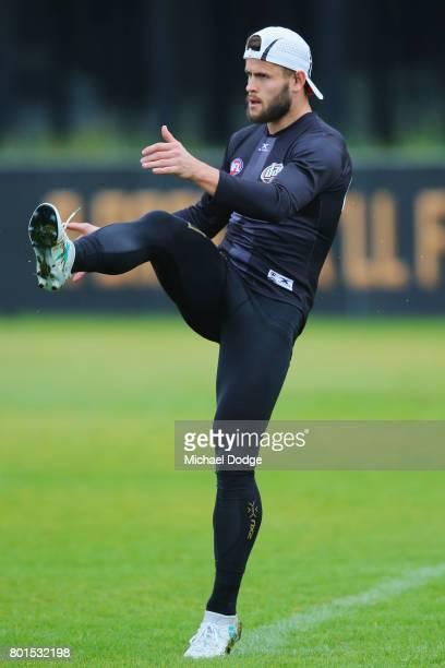 Maverick Weller kicks the ball during a St Kilda Saints AFL training session at Linen House Oval on June 27 2017 in Melbourne Australia