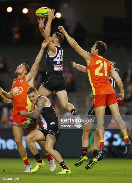 Maverick Weller of the Saints competed for the ball during the round 14 AFL match between the St Kilda Saints and the Gold Coast Suns at Etihad...