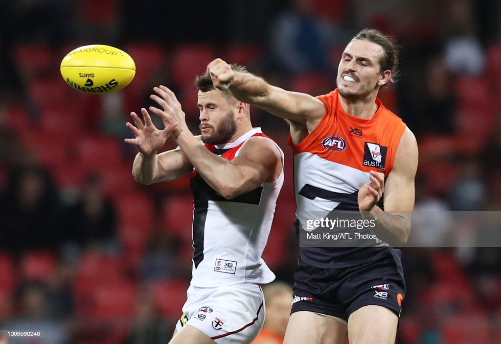 Maverick Weller of the Saints competes for the ball against Phil Davis of the Giants during the round 19 AFL match between the Greater Western Sydney Giants and the St Kilda Saints at Spotless Stadium on July 28, 2018 in Sydney, Australia.