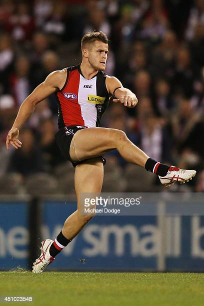 Maverick Weller of the Saints kicks the ball during the round 14 AFL match between the St Kilda Saints and the West Coast Eagles at Etihad Stadium on...
