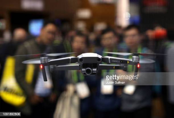 Mavic 2 Pro drone is demonstrated at the DJI booth during CES 2019 at the Las Vegas Convention Center on January 9 2019 in Las Vegas Nevada CES the...
