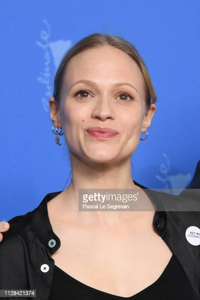 Mavie Hoerbiger poses at the The Ground Beneath My Feet photocall during the 69th Berlinale International Film Festival Berlin at Grand Hyatt Hotel...