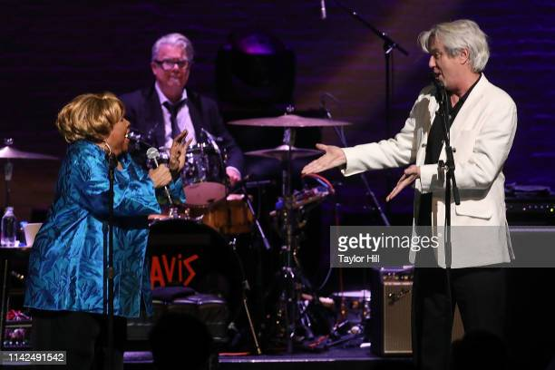 Mavis Staples and David Byrne perform during Newport Folk Presents Mavis and Friends at The Apollo Theater on May 9 2019 in New York City